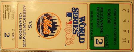 1986 World Series game 2 Ticket Stub