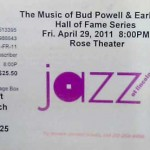 "BudPowell Hines Ticket 150x150 The Music of Earl ""Bud"" Powell & Earl ""Fatha"" Hines"