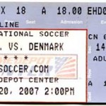 US Denmark Soccer Ticket 150x150 Dads First Soccer Match in the U.S.   Where are the fences?
