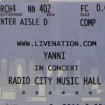 Yanni Radio City Ticket 150x150 Yanni Concert Tour