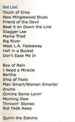 meadowlands setlist Ah, Quinn the Eskimo   encore