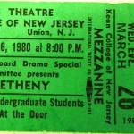 methany ticket stub 150x150 Pat Metheny   Kean College 1980