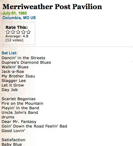 setlist2 Merriweather Post and another Stubstory