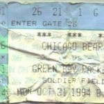 Bears Packers 1994 Ticket 150x150 Packers vs. Bears on a cold and rainy Halloween....