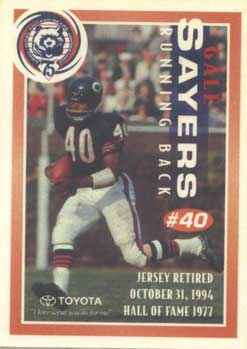Gale Sayers Card Packers vs. Bears on a cold and rainy Halloween....
