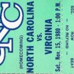 Tarheels UVA 1980 Ticket 150x150 Tar Heel Football   Why the sky is Carolina Blue