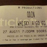 odin ticket whiskey 150x150 Odin Live at The Whisky
