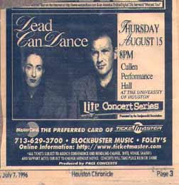 Dead Can Dance ad Dead Can Dance   Just blew me away